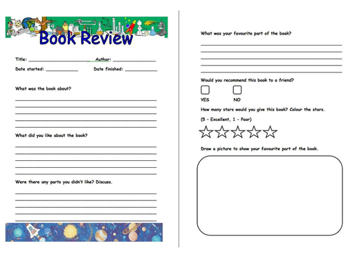 Book Review Pro Forma by bonzoginn Teaching Resources Tes – Book Review Worksheet