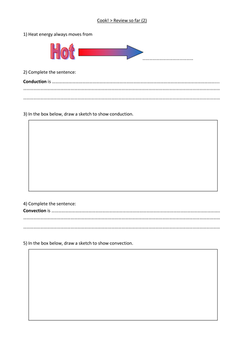 KS3 Conduction and convection review worksheet