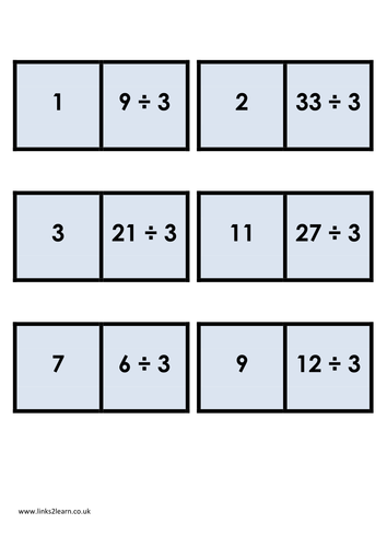 Division dominoes by eric t viking teaching resources - Domino table de multiplication ...
