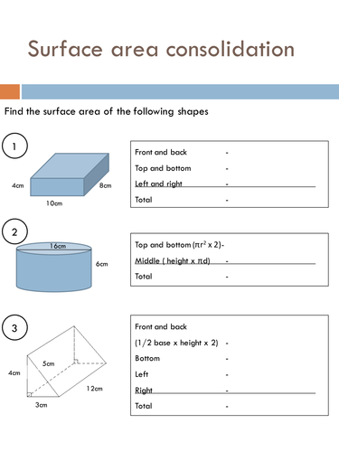 Surface Area Worksheets by HolyheadSchool - Teaching Resources - Tes