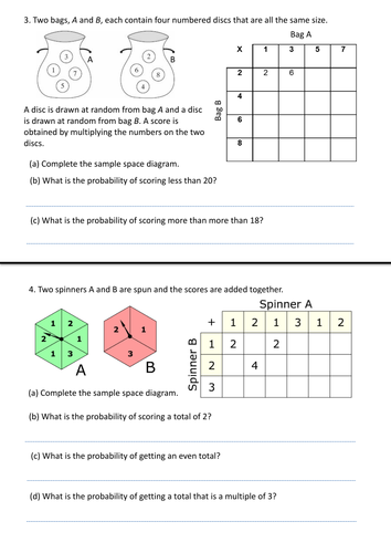 Sample Space Worksheet By Bulmer1404 Teaching Resources Tes