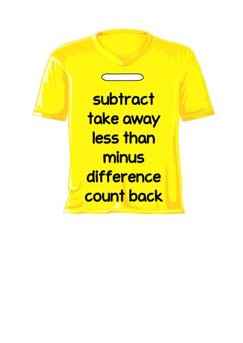Maths Vocab on T-shirts