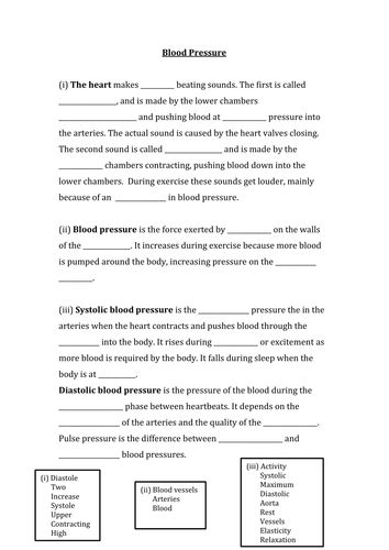 blood pressure worksheet by hannahfarmer17 teaching resources tes. Black Bedroom Furniture Sets. Home Design Ideas