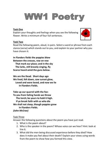 ww1 poetry worksheet 39 in flanders fields 39 by dmcclean03 teaching resources tes. Black Bedroom Furniture Sets. Home Design Ideas
