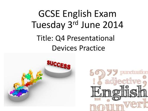 GCSE English Foundation Revision Unit Part One