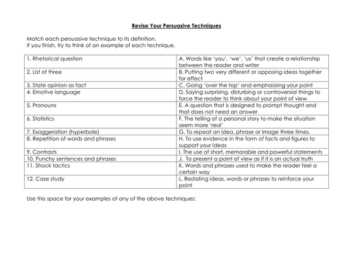 Persuasive Techniques by cupcake1788 Teaching Resources Tes – Persuasive Techniques Worksheet