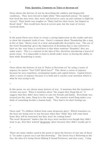 Example pqc/pee paragraphs on dulce et decorum est by jinglebell1.