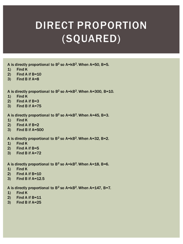 Direct Proportion (squared) worksheet by HolyheadSchool - Teaching ...