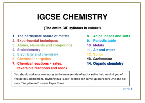 IGCSE Chemistry Revision Booklets by andrewkpyoung | Teaching Resources