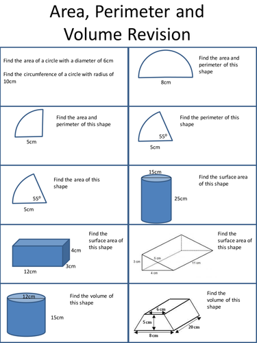 area volume and perimeter revision sheet by holyheadschool teaching resources. Black Bedroom Furniture Sets. Home Design Ideas