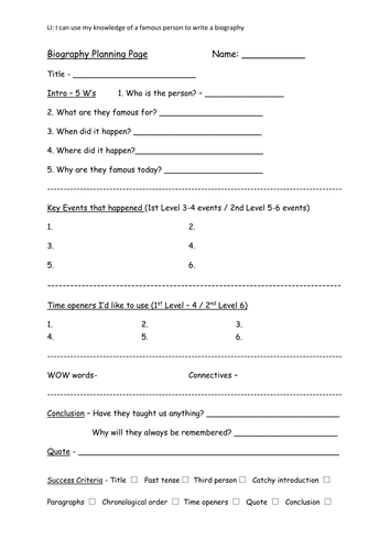 biography template for planning by rachelbunce teaching  writing a biography