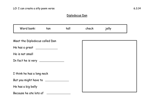 Silly Dinosaur Poem Year 1 by Els18 Teaching Resources Tes – Elements of Poetry Worksheet