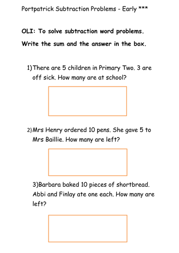 Subtraction Word Problems - Easily adapted - Early and First Level Key Stage 1