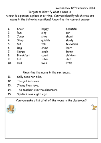 noun worksheet year 1 by joop09 teaching resources tes. Black Bedroom Furniture Sets. Home Design Ideas