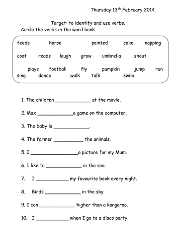 Verbs Worksheet Year 1