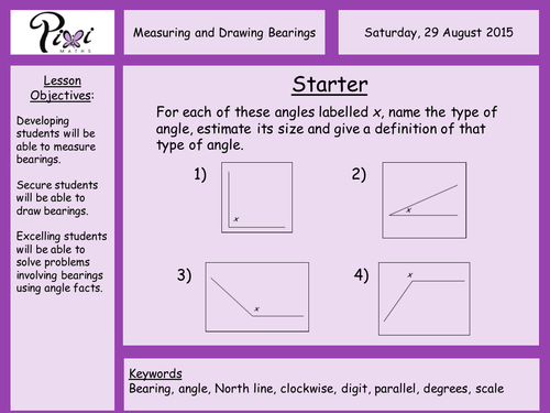 Measuring and drawing bearings by PixiMaths Teaching Resources TES – Scale Drawings Worksheet