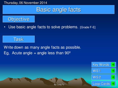 Basic angle facts grade F - E