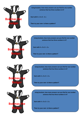 Simple BODMAS Investigation by kedw200 - Teaching Resources - Tes