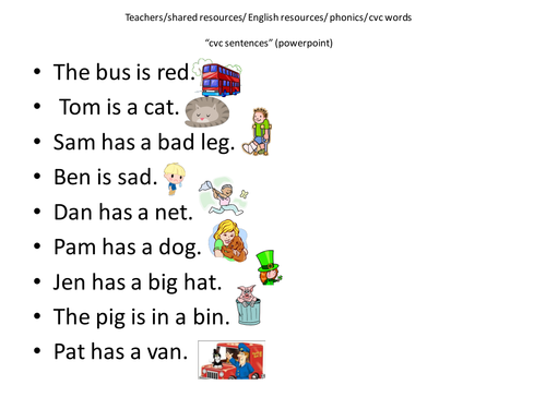 Worksheets Phonic Sentences cvc sentences by cariad2 teaching resources tes