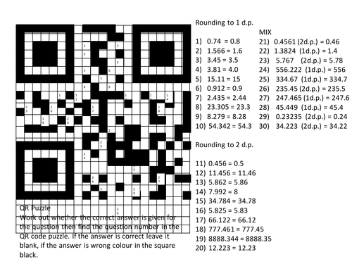Rounding to 1 and 2 decimal places QR Code puzzle by
