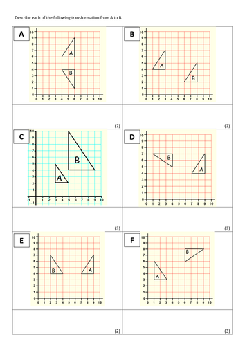 Worksheets Combined Transformations Worksheet describing transformations by doddmaths teaching resources tes