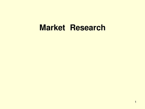 PPT - Marketing : research