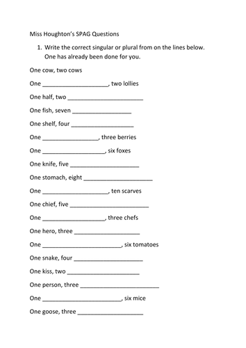 SPAG Plurals and Word Classes Worksheets by nahoughton - Teaching ...