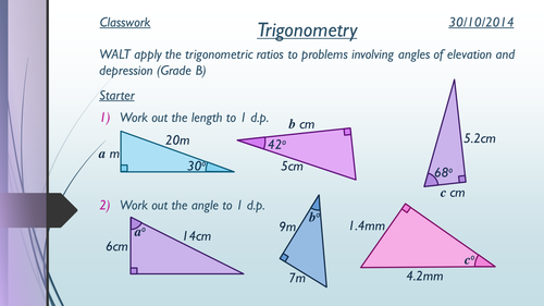 Angle Of Elevation Lesson Plan : Trigonometry elevation and depression by annah