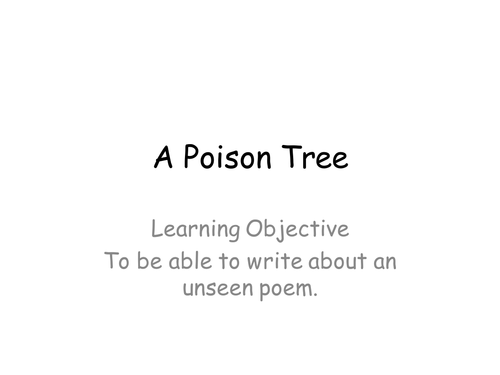 A Poison Tree William Blake - discussion