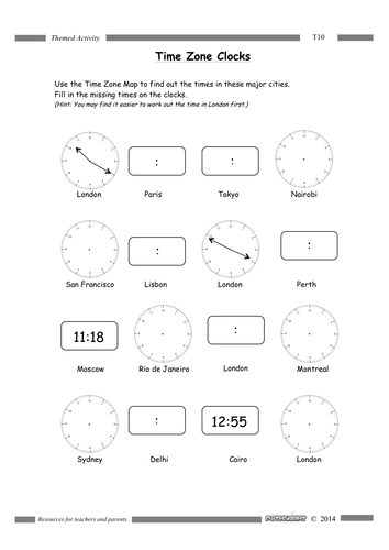 Time Zones by Mathsright  Teaching Resources  Tes