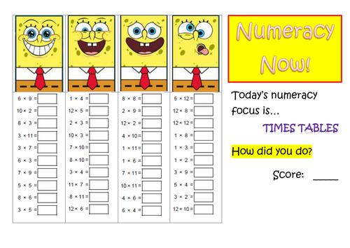 Numeracy times tables practice by mcamaths teaching for 85 times table