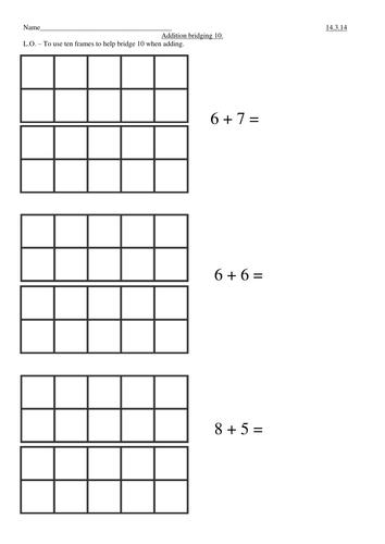 Addition (bridging 10) using 10 frames