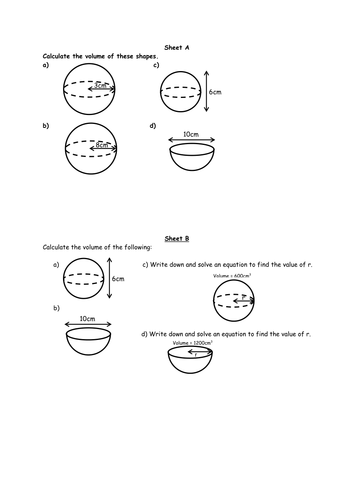 Worksheets Volume Of Spheres Worksheet volume and surface area of spheres by rach4385 teaching spheres