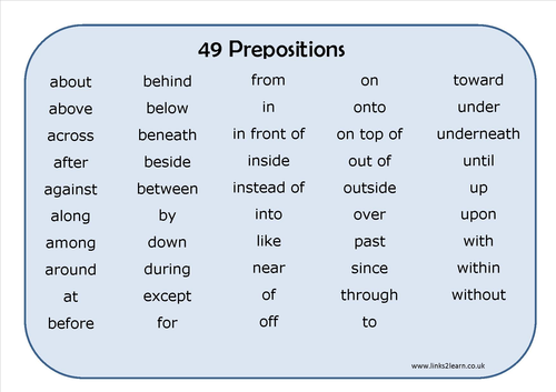 Preposition In Learn In Marathi All Complate: 49 Prepositions Learning Mat By Eric_t_viking