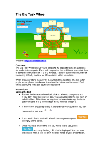 The Big Task Wheel By Mrgbowman Teaching Resources Tes