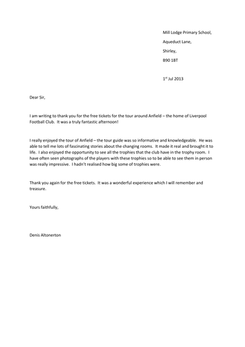 thank you letter framework by clarelally teaching resources tes