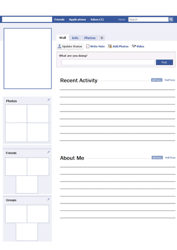 facebook templates for projects - blank facebook profile worksheet activity by svroddam