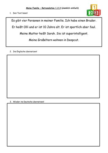 KS3 German Meine Familie retranslation task