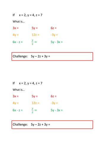 Algebra - Substitution Lesson
