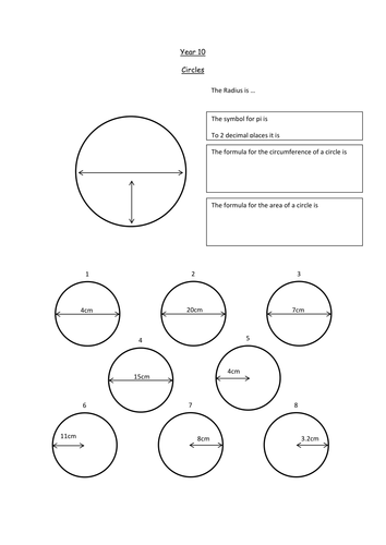 Circles Introduction and Worksheet KS3 or KS4 by