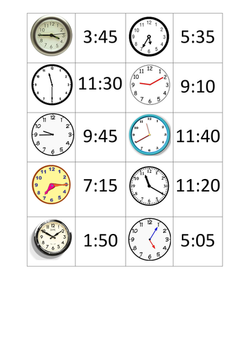 Matching Activity- Analogue to Digital Time by gill2307 - Teaching ...