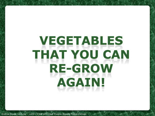 Regrowing Your Food - Land and Plants