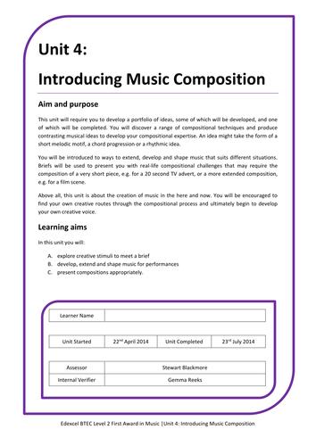 BTEC Unit 4: Introducing Music Composition