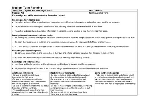 Art - The Tudors Medium Term Planning