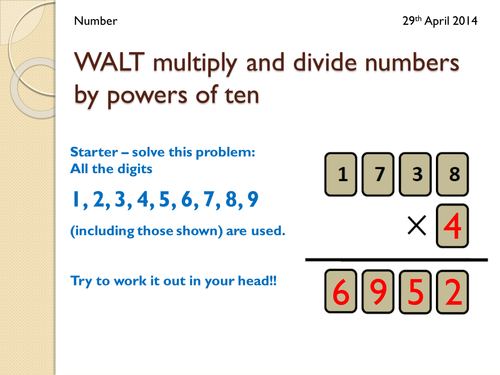 Multiplying by Powers of 10 Collect a Joke KS3 by twiglet84 – Multiplying by Powers of 10 Worksheet
