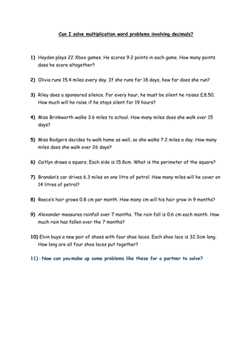 Multiplication word problems - decimals. Year 5 by hazelybell ...