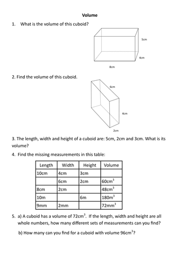 Cuboid Worksheet: volume worksheet by sessa1 teaching resources tes,