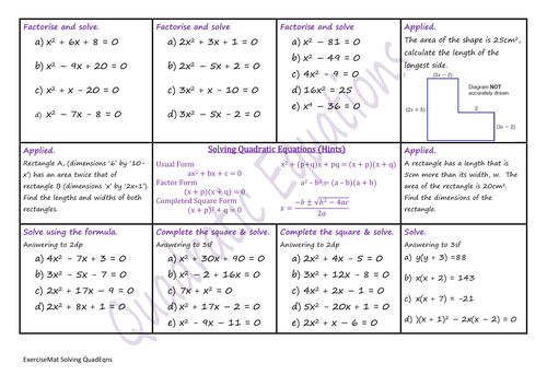 Solving Quadratic Equations WS by climbingjack Teaching – Quadratic Equations Worksheet