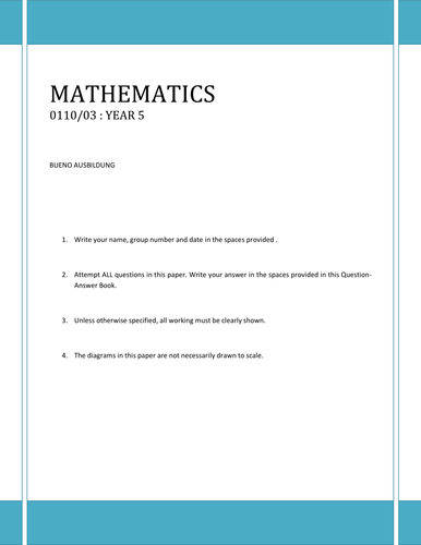 Year 5 Maths Test  _May 14_Revision for Year 6