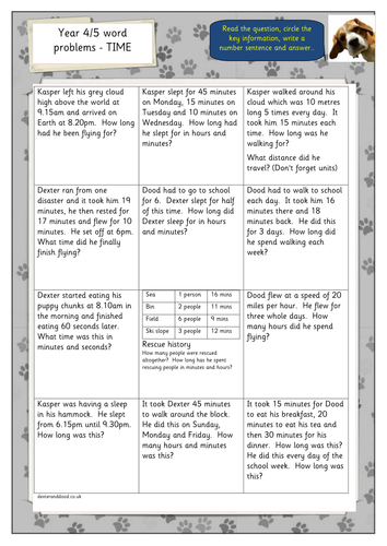 Time Worksheets time worksheets one hour later : Year 4/5 time word problems by hilly100m - Teaching Resources - TES
